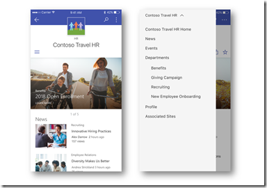SharePoint Hub Sites - mit Navigation in der SharePoint App