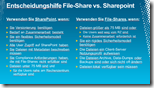 Entscheidungshilfe File-Share vs. Sharepoint