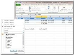In Excel 2010 Filer in Tabellen verwenden
