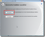 Sharpoint Foundation und Windows 7 - Start der Installation