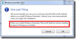 Warnung bei der Installation der Windows Essentials 2012 Preview - Mesh wird deinstalliert