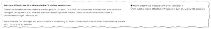 Löschen öffentlicher SharePoint Online-Websites verschieben