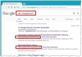 Sites mit sharepoint.com in der Google-Suche