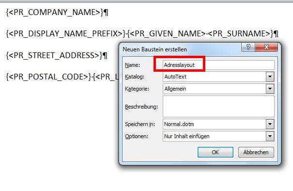 Outlook Kontakte Nach Word Exportieren Adressfeld Anpassen