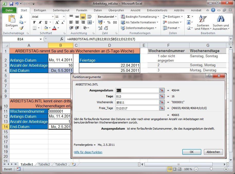 Excel-2010-Tipp: Arbeitstage berechnen mit neuen Excel-2010-Funktionen