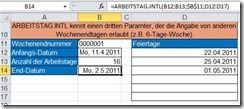 Funktion ARBEITSTAG.INTL in Excel 2010 verwenden
