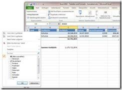 In Excel 2010 Filer in Tabellen verwenden
