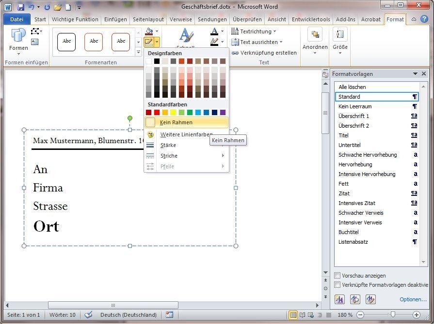 Word 2010 Tipp Dokumente Gestalten Mit Dokumentvorlagen