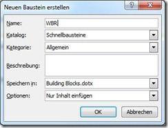 Schnellbaustein in Word 2010 erstellen