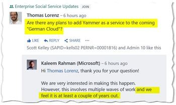 Yammer not coming to German Cloud