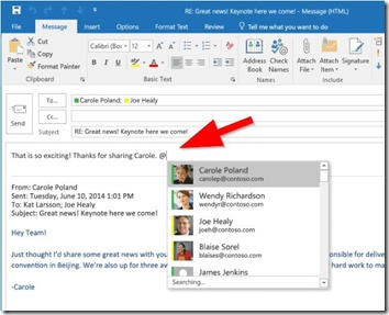 Outlook mit neuen @mentions