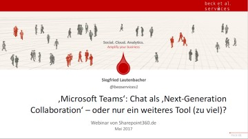 "SharePoint360 Webinar Teams - Download Webinar: ""Microsoft Teams vs. Slack - Chat als Next-Generation Collaboration?"""