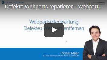 Webpartseitenwartung Defektes Webpart entfernen. - Typische Probleme mit Webparts - einfach beheben über die Webpartseitenwartung