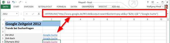 Der Excel-Befehl Hyperlink erzeugt Links