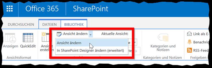 Dateinamenerweiterungen in Dokumentenbibliotheken - Ansicht ändern