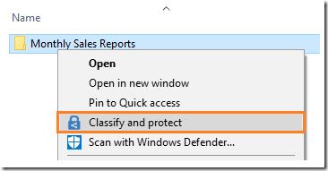AIP-Klassifizierung über den Windows-Explorer