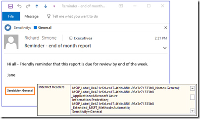 Azure Information Protection in Outlook