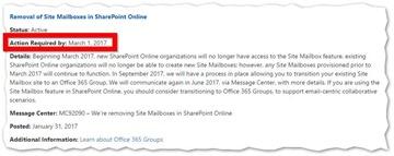 Office 365 - Ende der Site-Mailboxen