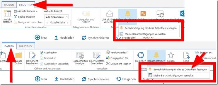 SharePoint Benachrichtigungen für Dokumente und Bibliotheken