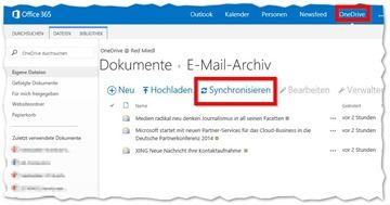 E-Mails in OneDrive for Business