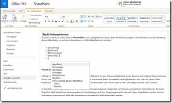 Inhaltsverzeichnis für ein Wiki in SharePoint