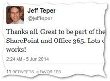 Jeff Tepers SharePoint-Abschieds-Tweet