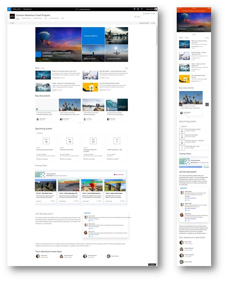 SharePoint Communication Sites Web-mobile-side-by-side