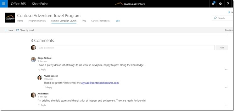 SharePoint-Virtual-Summit - Kommentare in Communication Sites