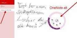 OneNote MX alt mit dem bsiherigen Stiftmenü ohne Farben
