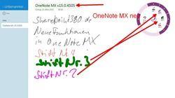 OneNote MX neu - Radialmenü mit farbigen Stiften