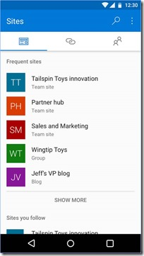 SharePoint Mobile App für Android