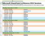 Sharepoint Conference Schedule   Excel