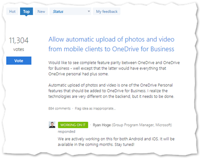 Microsoft OneDrive User Voice 2.0
