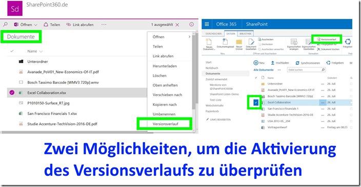 SharePoint Versionsverlauf kontrollieren