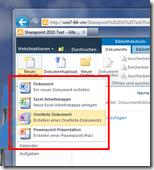Dokumentenbibliotheken mit Office-Vorlagen - Menü Neues Dokument