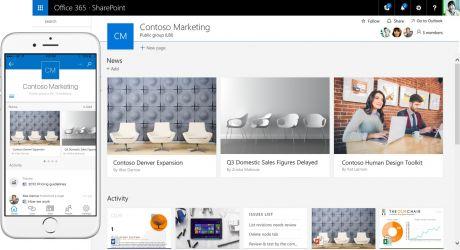 Neue SharePoint-Teamsite für Browser und Mobilgeräte. Viele aktualisierte Teamfunktionen und Integration in Office 365 Gruppen. Mitglieder können u.a. Content vorne anpinnen.