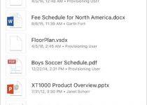 SharePoint Mobile - Suche - Ergebnisseite für Dateien