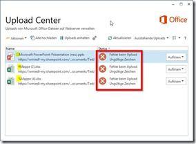 Fehlermeldung im Upload-Center bei ungültigen Dateinamen