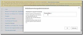 Einstieg in SharePoint Berechtigungen - Websitesammlungsadministrator festlegen____