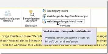Einstieg in SharePoint Berechtigungen - Websitesammlungsadministrator festlegen___